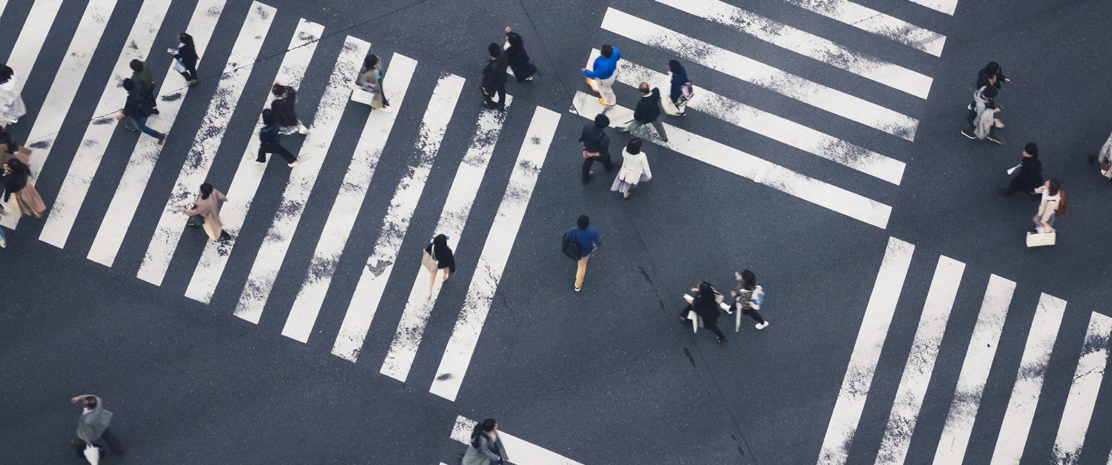 People at a crosswalk