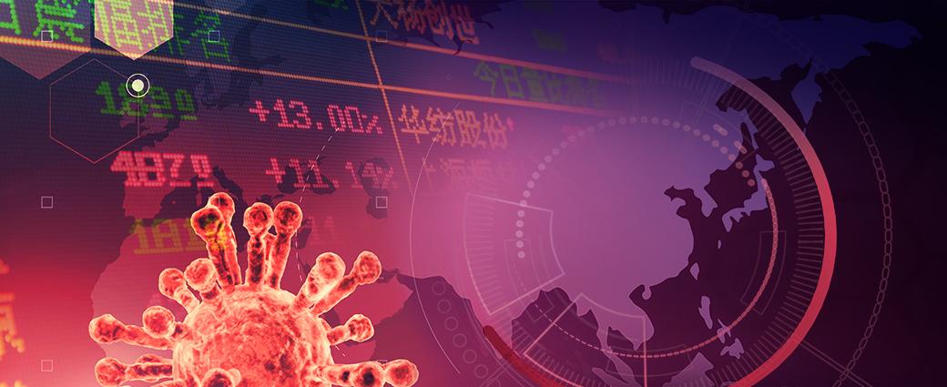 Coronavirus image over a stock market board